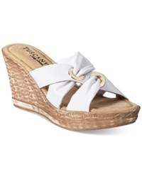 Easy Street Shoes Tuscany Solaro Wedge Sandals Women's White