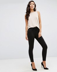 Asos High Waisted Skinny Trousers With Biker Knee Black