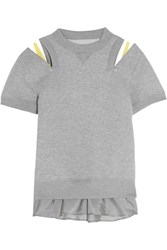 Sacai Guipure Lace Trimmed Jersey And Satin Sweatshirt Gray