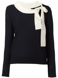 Sonia Rykiel Long Sleeve Neck Tie Sweater Blue
