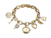 Anne Klein 10 7604 Gold Charm Bracelet With Gold Dial Watches