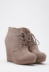 Forever 21 Lace Up Wedge Booties Taupe