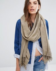 Pieces Woven Scarf With Tassels In Grey Elephant Skin