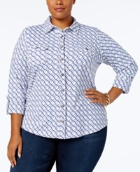 Charter Club Plus Size Chain Print Utility Shirt Created For Macy's Cloud Combo