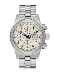 Fortis Flieger Stainless Steel White Chronograph Watch