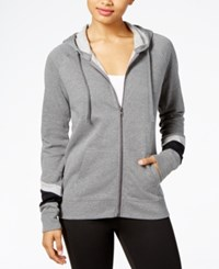 Material Girl Active Juniors' Colorblocked Zip Front Hoodie Created For Macy's Heather Charcoal