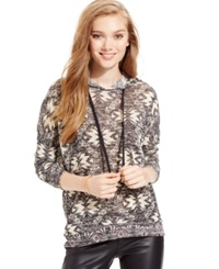It's Our Time Its Our Time Juniors' Marled Aztec Hoodie Sweater Dark Grey Combo