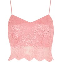 River Island Womens Pink Lace Crop Bralet