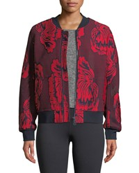 Tory Sport Soho Floral Embroidered Mesh Bomber Jacket Red Pattern
