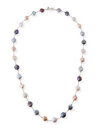 Margo Morrison Peacock Gray And White Pearl Coin Necklace