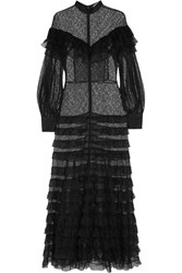 Alessandra Rich Ruffled Tiered Lace Maxi Dress Black