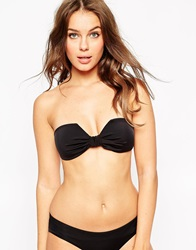 Asos Mix And Match Square Bow Bandeau Bikini Top Black