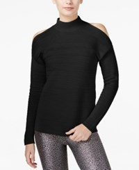 Bar Iii Ribbed Cold Shoulder Sweater Only At Macy's Deep Black