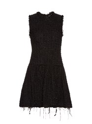 Simone Rocha Round Neck Sleeveless Tweed Dress Black
