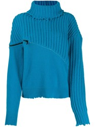 Unravel Project Roll Neck Zipped Jumper Blue