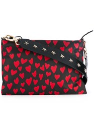 Red Valentino Heart Print Crossbody Bag Women Calf Leather Nylon One Size Black