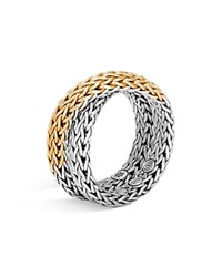 John Hardy Sterling Silver And 18K Gold Classic Chain Woven Ring Gold Silver