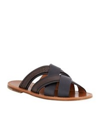 Bottega Veneta Multi Strap Woven Leather Sandal Brown