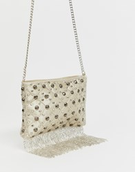 Miss Selfridge Cross Body Bag With Sequins In White