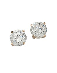 Lord And Taylor 18 Kt Gold Plated Solitaire Cubic Zirconia Stud Earrings Silver