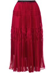 Aula High Waisted Pleated Skirt Polyester Red