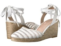 Adrianna Papell Penny Bianco Floreat Net Women's Wedge Shoes White