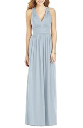 After Six Women's Crisscross Back Ruched Chiffon V Neck Gown Mist