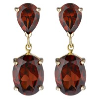 A B Davis 9Ct Gold Double Drop Earrings Garnet