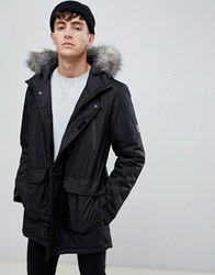 D Struct Fur Trimmed Oversized Mountain Parka Durable Poly Black