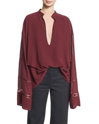 Derek Lam Lace Inset Plunging V Neck Blouse Wine