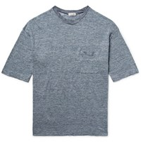 Camoshita Slim Fit Space Dyed Knitted Linen T Shirt Storm Blue
