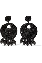 Kenneth Jay Lane Beaded Clip Earrings Black