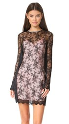 Alexander Wang Long Sleeve Lace Dress With Chain Trim Onyx