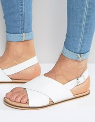 Asos Sandals In White Leather With Cross Over Strap White