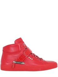 D S De Leather High Top Sneakers W Croc Detail
