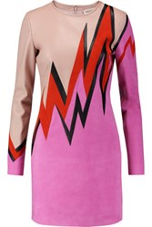 Emilio Pucci Color Block Leather And Suede Mini Dress Pink