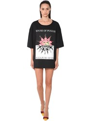 Fausto Puglisi Sun Logo Print Cotton Jersey Mini Dress Black