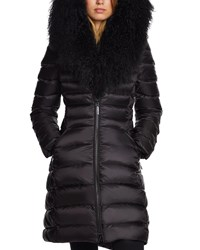 Dawn Levy Camile Mongolian Trim Fitted Puffer Jacket Black