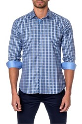 Jared Lang Checkered Long Sleeve Trim Fit Shirt Blue