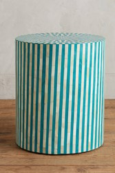Anthropologie Rounded Inlay Side Table Blue Green