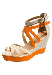 Chocolate Schubar Evelyn Platform Sandals Ecru Orange