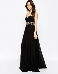 Forever Unique Maida Bandeau Maxi Dress With Embellishment Black