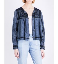 Free People Paisley Print Cotton Jacket Blue