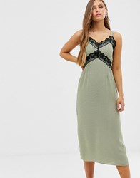 Glamorous Cami Dress With Lace Detail In Ditsy Spot Green