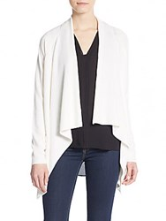 Vince Rib Knit Asymmetrical Cardigan Off White