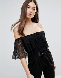 Club L Lace Overlay Detailed Bodysuit Black