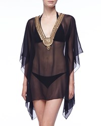 Luxe By Lisa Vogel Premiere Sheer Statement Neckline Tunic Coverup Onyx
