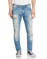 Diesel Thavar Destroyed Super Slim Fit Jeans In Denim