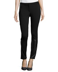 Cluny Faux Leather Trim Leggings Black