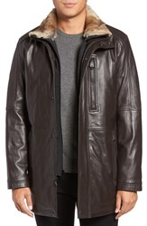 Marc New York Men's By Andrew Middlebury Genuine Rabbit Fur Trim Leather Car Coat With Removable Bib